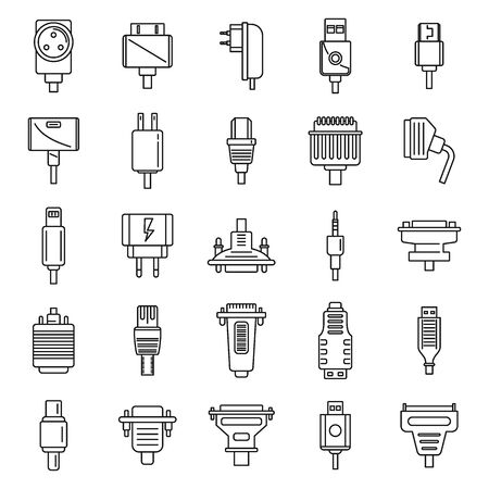 Adapter connector icons set. Outline set of adapter connector vector icons for web design isolated on white background