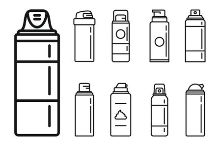 Shaving foam bottle icons set, outline style