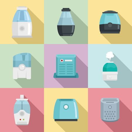 Air purifier icons set, flat style