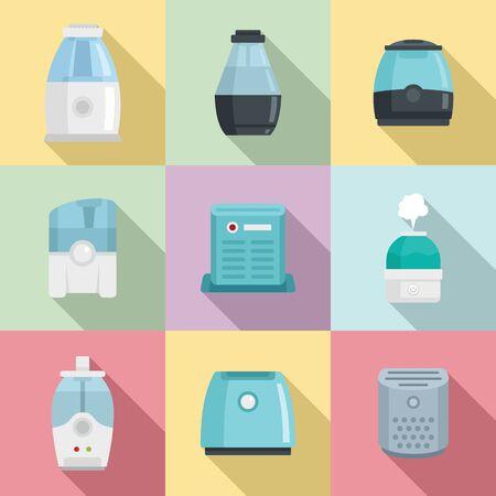 Set di icone di purificatore d'aria, stile piatto Vettoriali