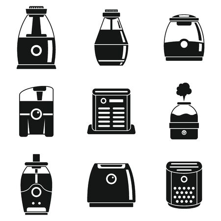 Climate air purifier icons set, simple style