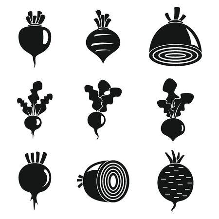 Beetroot icons set, simple style Illusztráció