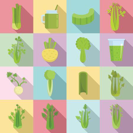 Celery icons set, flat style
