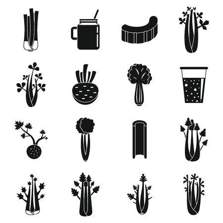 Celery food icons set, simple style
