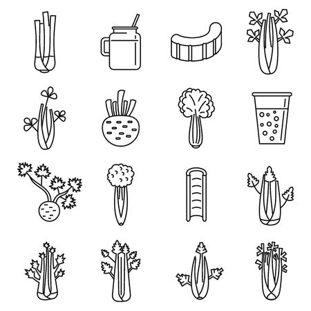 Celery salad icons set, outline style