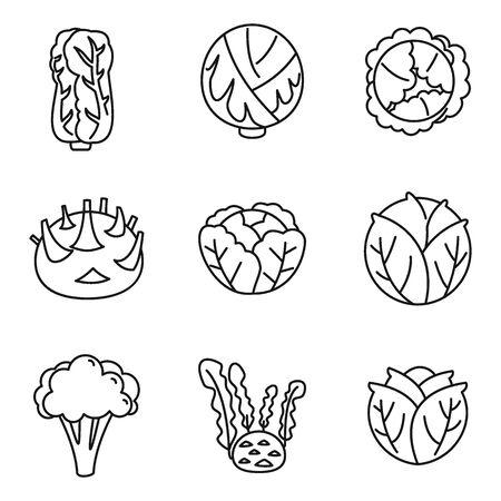Conjunto de iconos de repollo agrícola, estilo de contorno Ilustración de vector