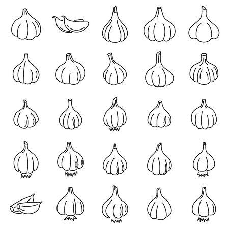 Zestaw ikon żywności czosnku. Zarys zestaw ikon wektorowych żywności czosnku do projektowania stron internetowych na białym tle