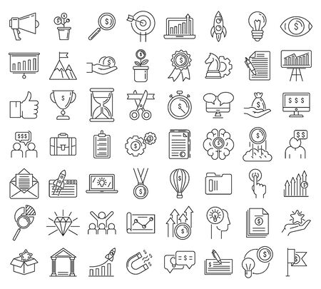Startup icons set. Outline set of startup vector icons for web design isolated on white background
