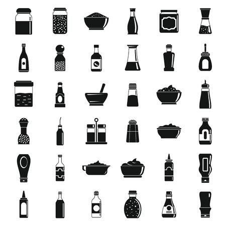 Condiment sauce icons set, simple style