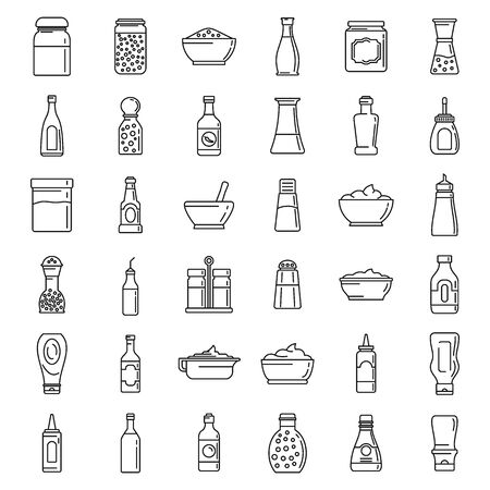 Condiment food icons set, outline style