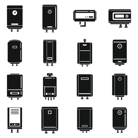 Boiler gas icons set, simple style