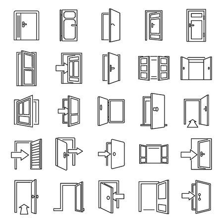 Entrance exit icons set, outline style