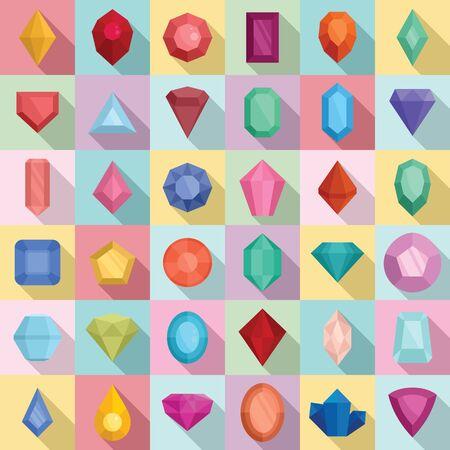 Jewel icons set, flat style Stock fotó - 137492685