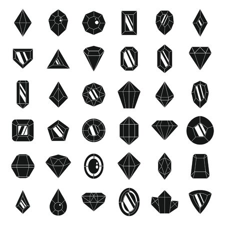 Jewel brilliant icons set, simple style