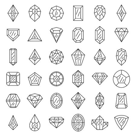 Gemstone icons set, outline style