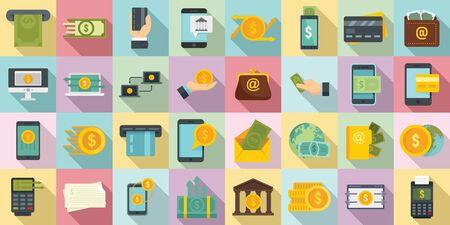 Money transfer icons set, flat style