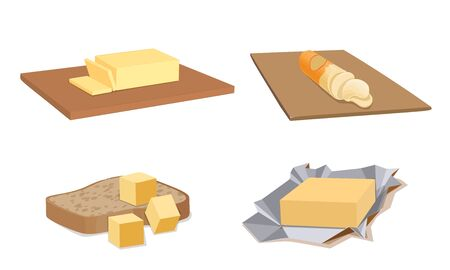 Butter icons set, cartoon style Illustration