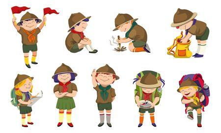Jeu d'icônes de scout, style cartoon