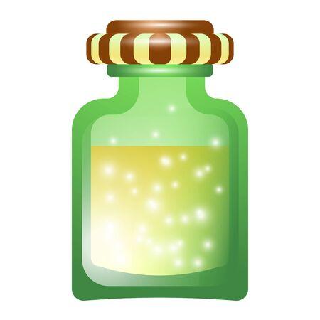 Magic potion bottle icon, cartoon style
