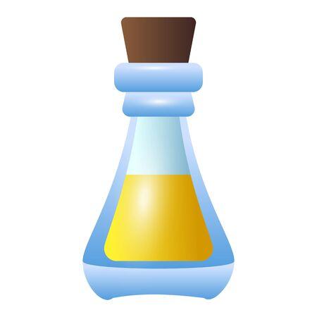 Yellow bottle potion icon, cartoon style Illustration