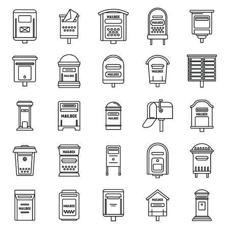 Metal mailbox icons set. Outline set of metal mailbox vector icons for web design isolated on white background