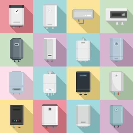 Boiler icons set. Flat set of boiler vector icons for web design Иллюстрация