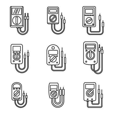 Electric multimeter icons set. Outline set of electric multimeter vector icons for web design isolated on white background