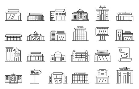 Exhibition center icon set, outline style Ilustração