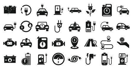 Hybrid icons set, simple style 일러스트
