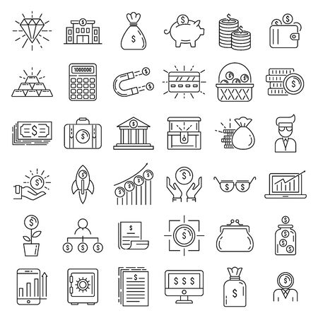 Millionaire icons set, outline style