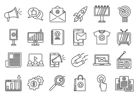 Campaign adword icons set, outline style