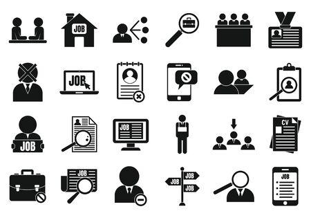 Arbeitslose Symbole gesetzt. Einfacher Satz arbeitsloser Vektorikonen für Webdesign auf weißem Hintergrund