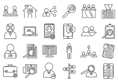 Unemployed office icons set. Outline set of unemployed office vector icons for web design isolated on white background