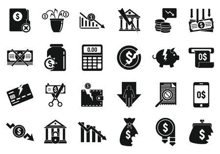 Bankrupt icons set. Simple set of bankrupt vector icons for web design on white background