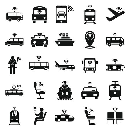 Wifi in transport icons set. Simple set of wifi in transport vector icons for web design on white background