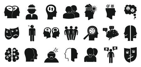 Bipolar disorder icons set. Simple set of bipolar disorder vector icons for web design on white background