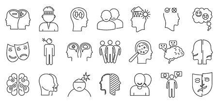 Bipolar disorder disease icons set. Outline set of bipolar disorder disease vector icons for web design isolated on white background