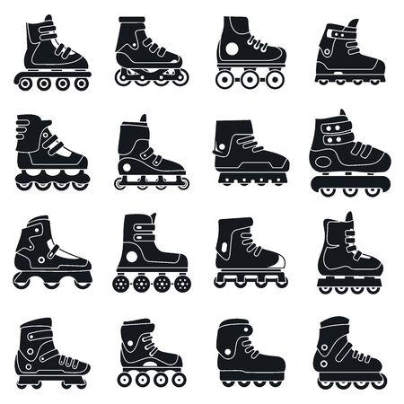 Fitness inline skates icons set, simple style 일러스트