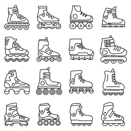 Sport inline skates icons set, outline style