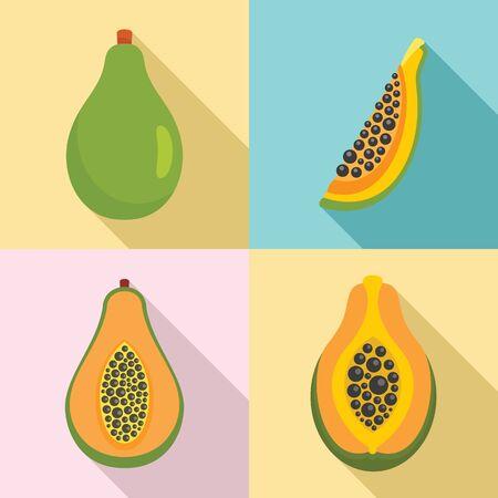 Papaya icons set, flat style Ilustracja