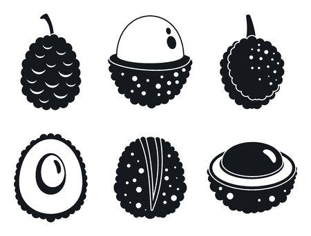 Fresh lychees icons set, simple style Ilustracja