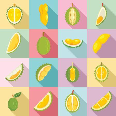Durian icons set, flat style