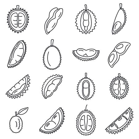 Durian fruit icons set, outline style