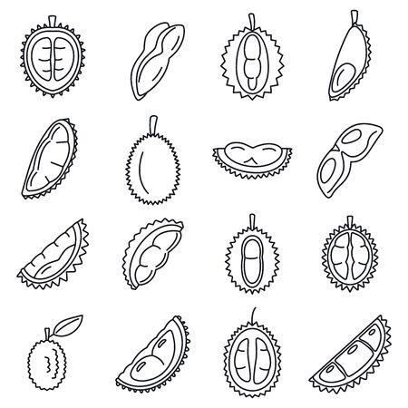 Ensemble d'icônes de fruits durian, style de contour