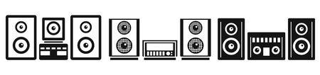 Home stereo system icons set. Simple set of home stereo system vector icons for web design on white background
