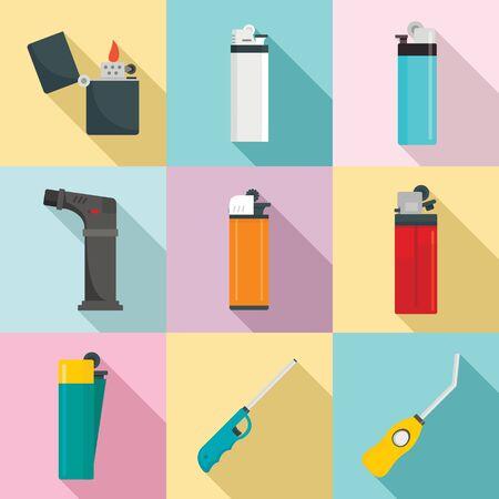 Cigarette lighter icons set, flat style 일러스트