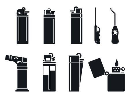 Burn cigarette lighter icons set, simple style 일러스트