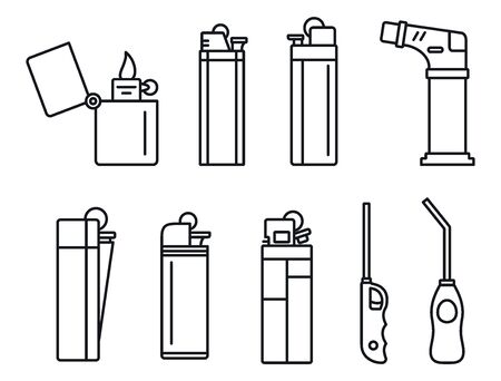 Flame cigarette lighter icons set, outline style 일러스트