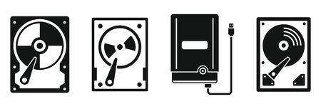 External hard disk icons set. Simple set of external hard disk vector icons for web design on white background