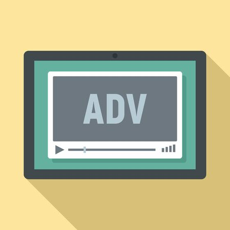 Video advertising icon. Flat illustration of video advertising vector icon for web design 일러스트